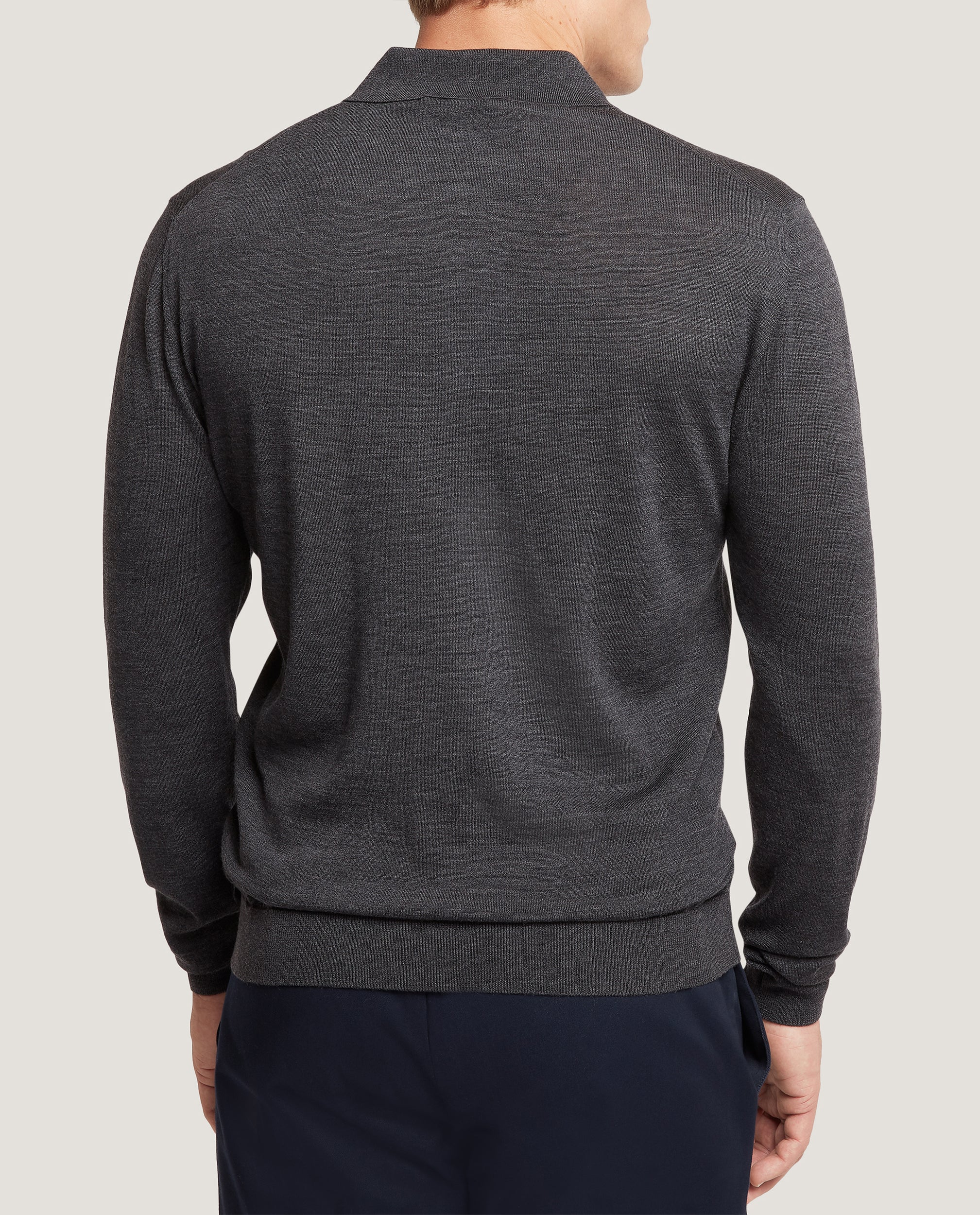 ISAAC Merino polo | Dark Grey