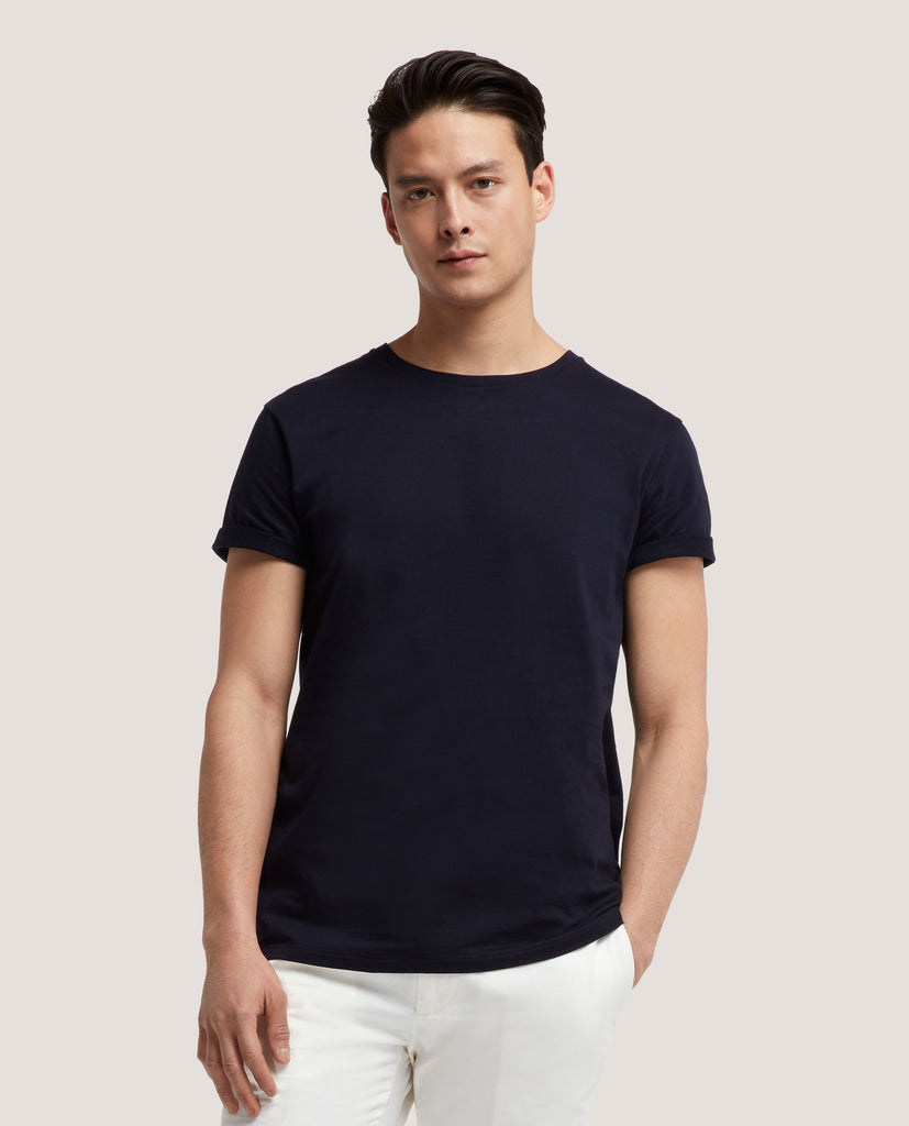 LOTHAR T-shirt | Cotton | Night Blue by Salle Privée