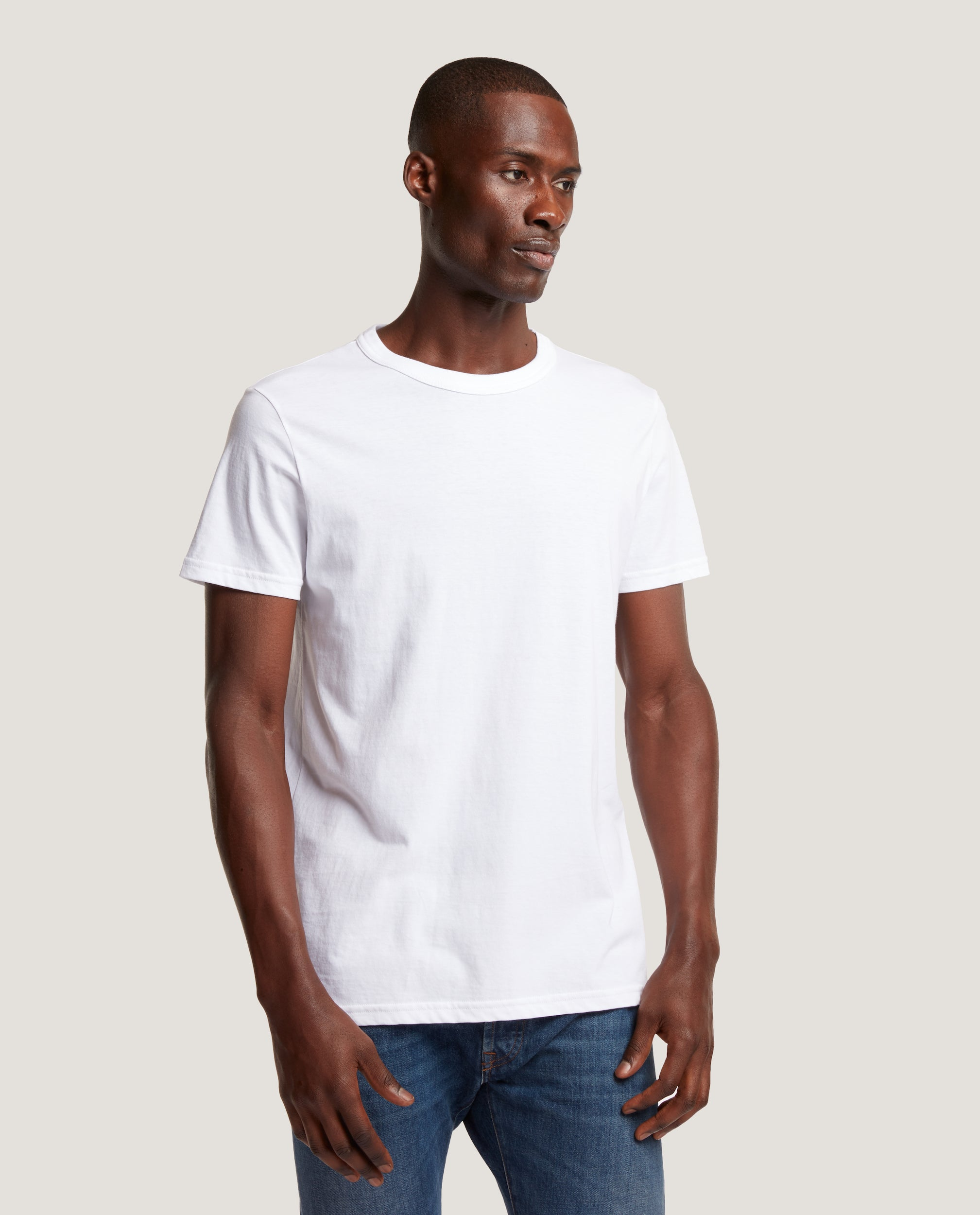 LUCAS High Rib Collar T-shirt | Cotton | White