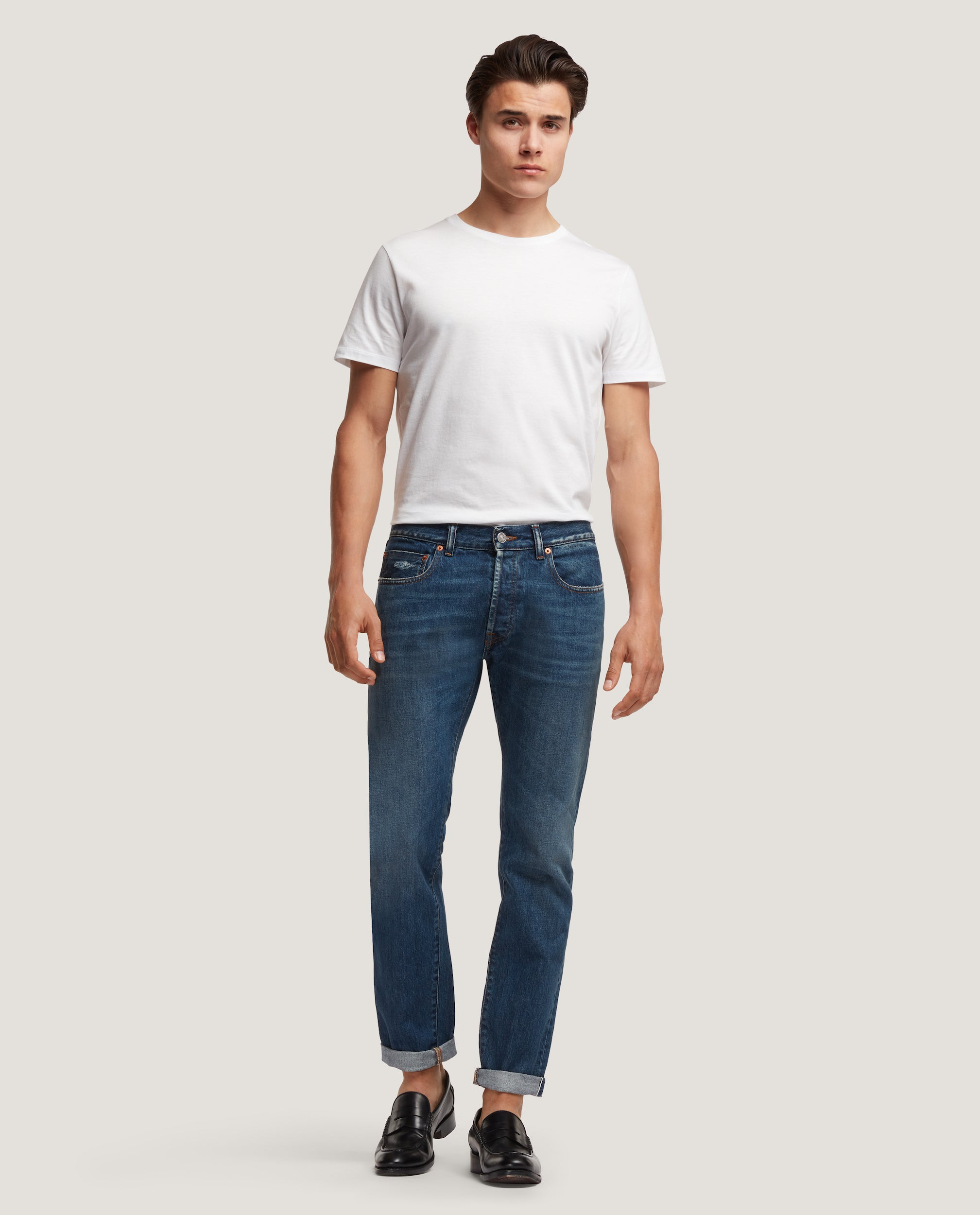 LEWITT Regular-slim fit jeans | Blue distressed selvedge