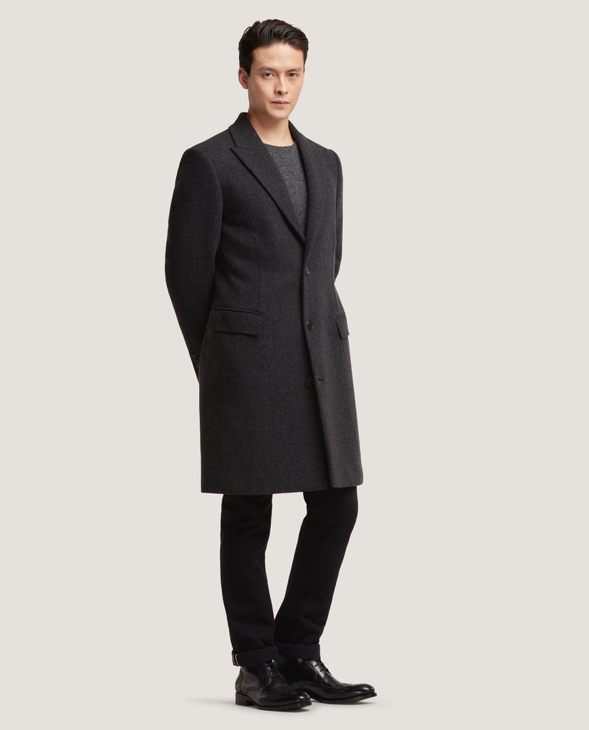 GILLES Single breasted wool overcoat | Dark Grey by Salle Privée