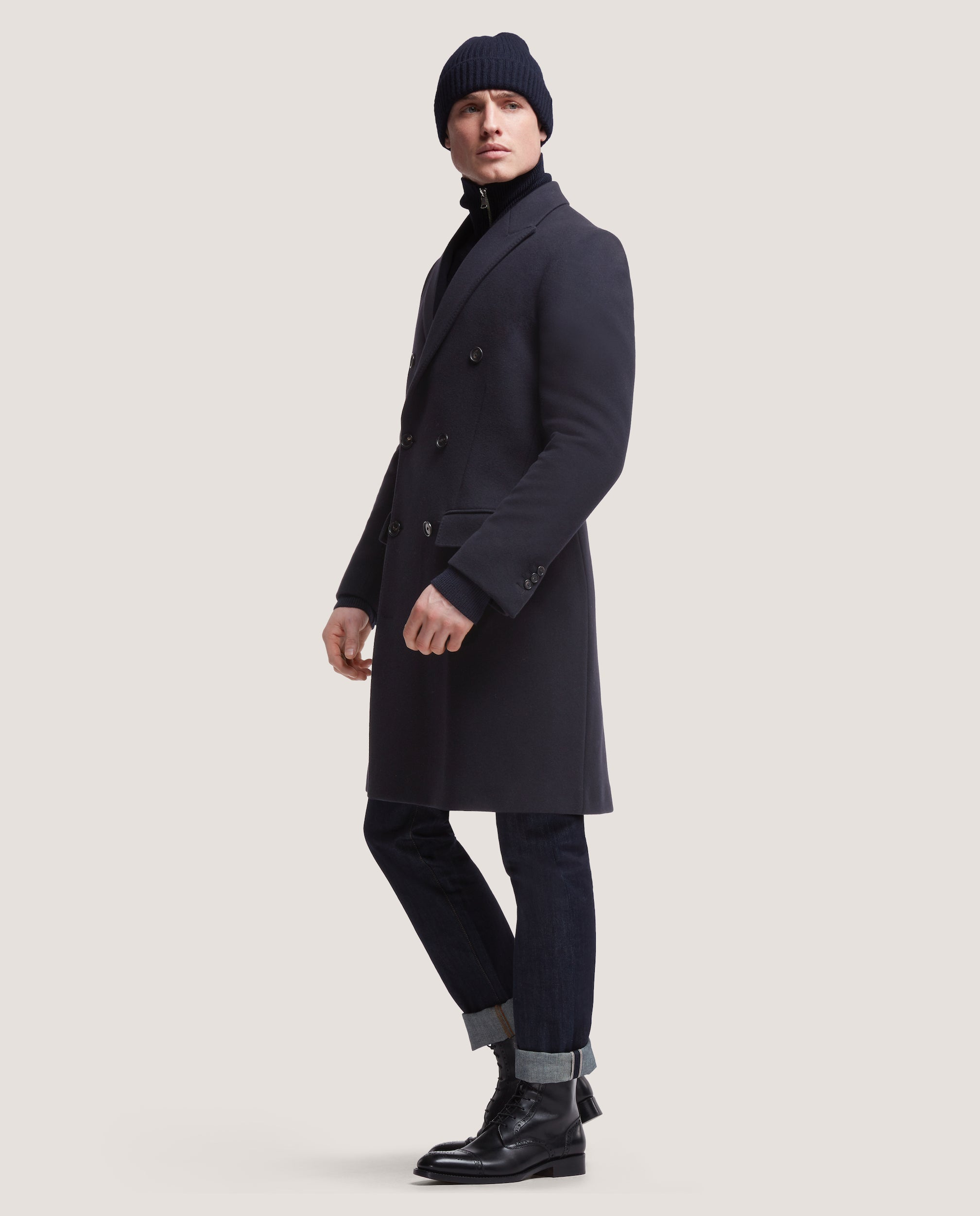 IVES Double breasted wool overcoat | Night Blue