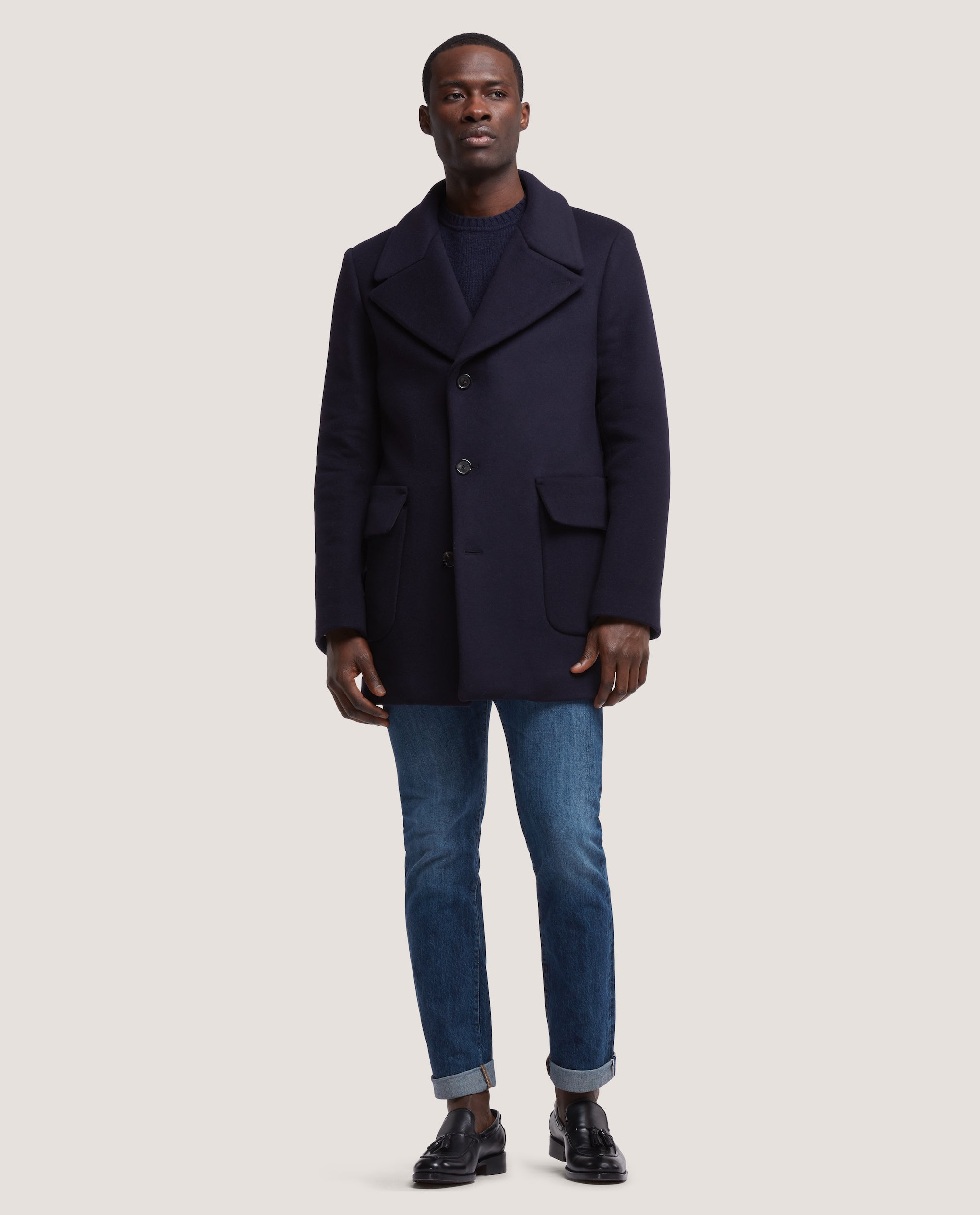 SCOTT Single breasted wool overcoat | Night Blue