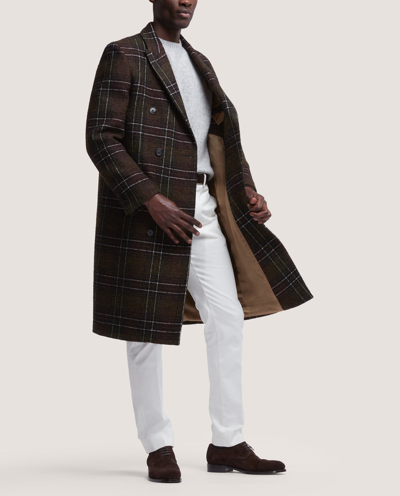 ALAIN Double breasted wool overcoat | Olive Check by Salle Privée
