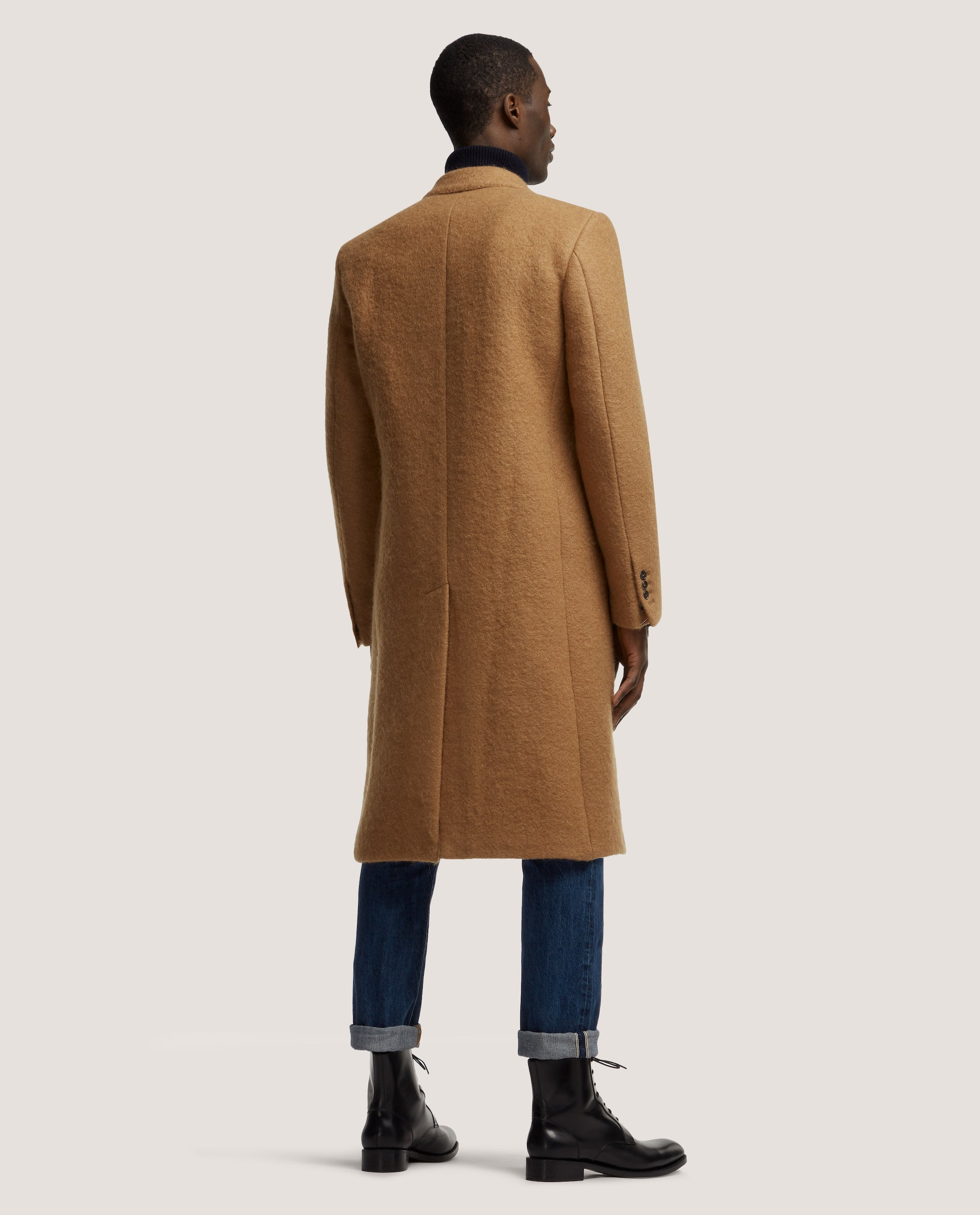 ALAIN Double breasted wool overcoat | Tan