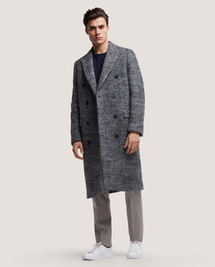ALAIN Double breasted wool overcoat | Black & White Herringbone by Salle Privée