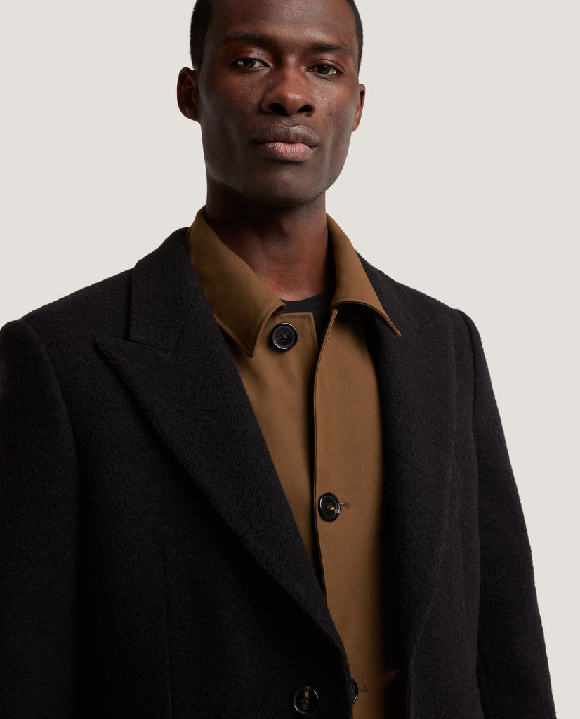 ADRIAN Single breasted wool overcoat | Black by Salle Privée