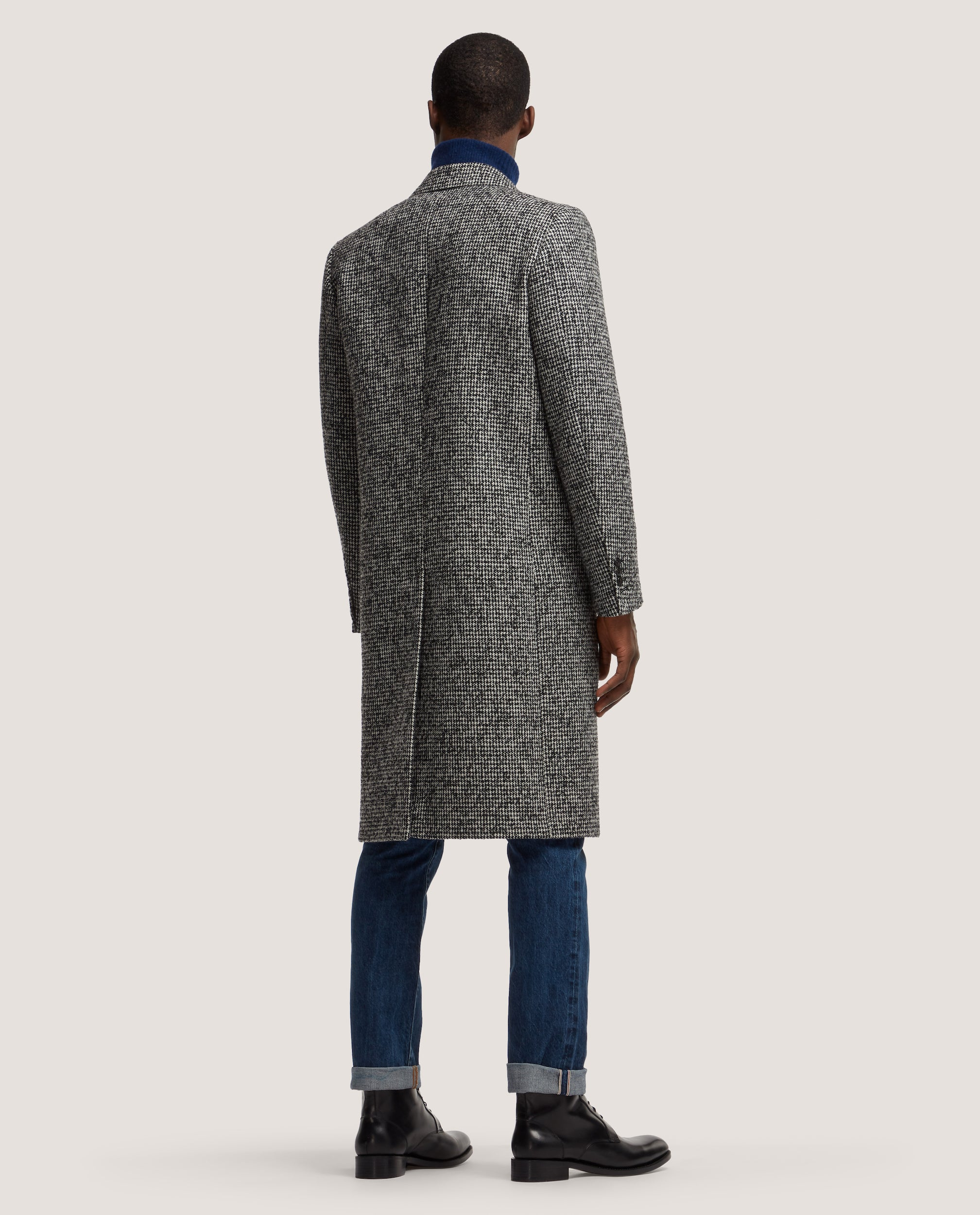 ADRIAN Single breasted wool overcoat | Black & White Pied-de-poule
