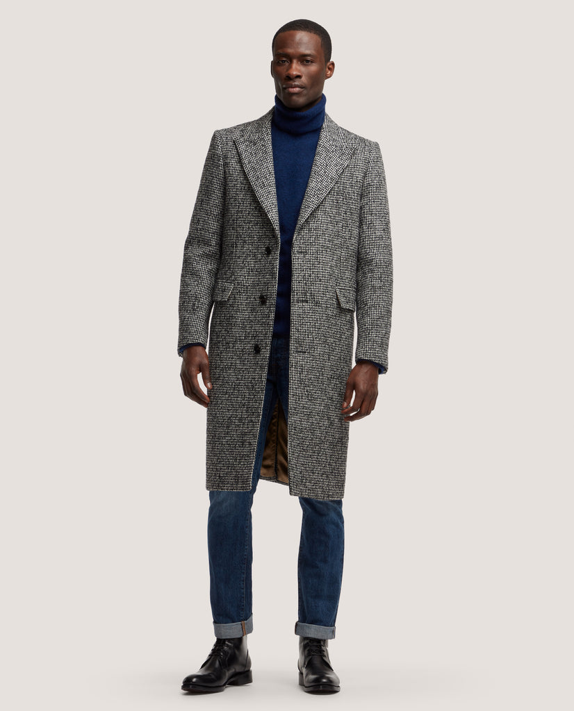 ADRIAN Single breasted wool overcoat | Black & White Pied-de-poule by Salle Privée