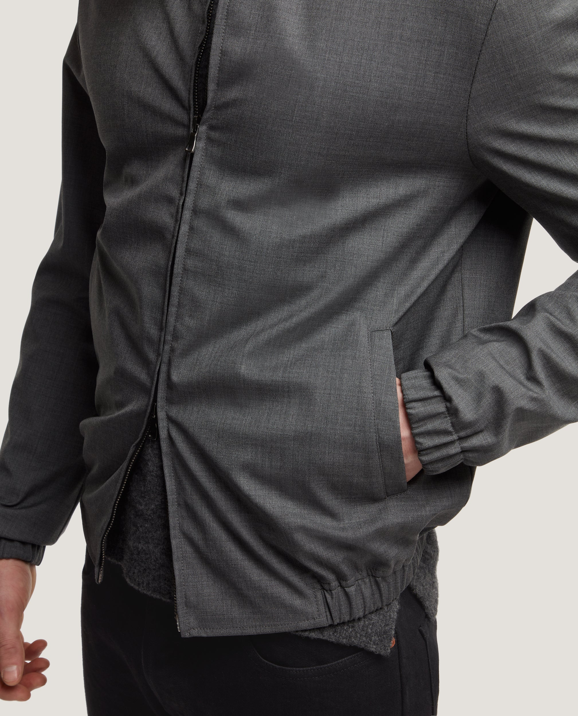 EWEN Harrington jacket | Wool | Grey Melange
