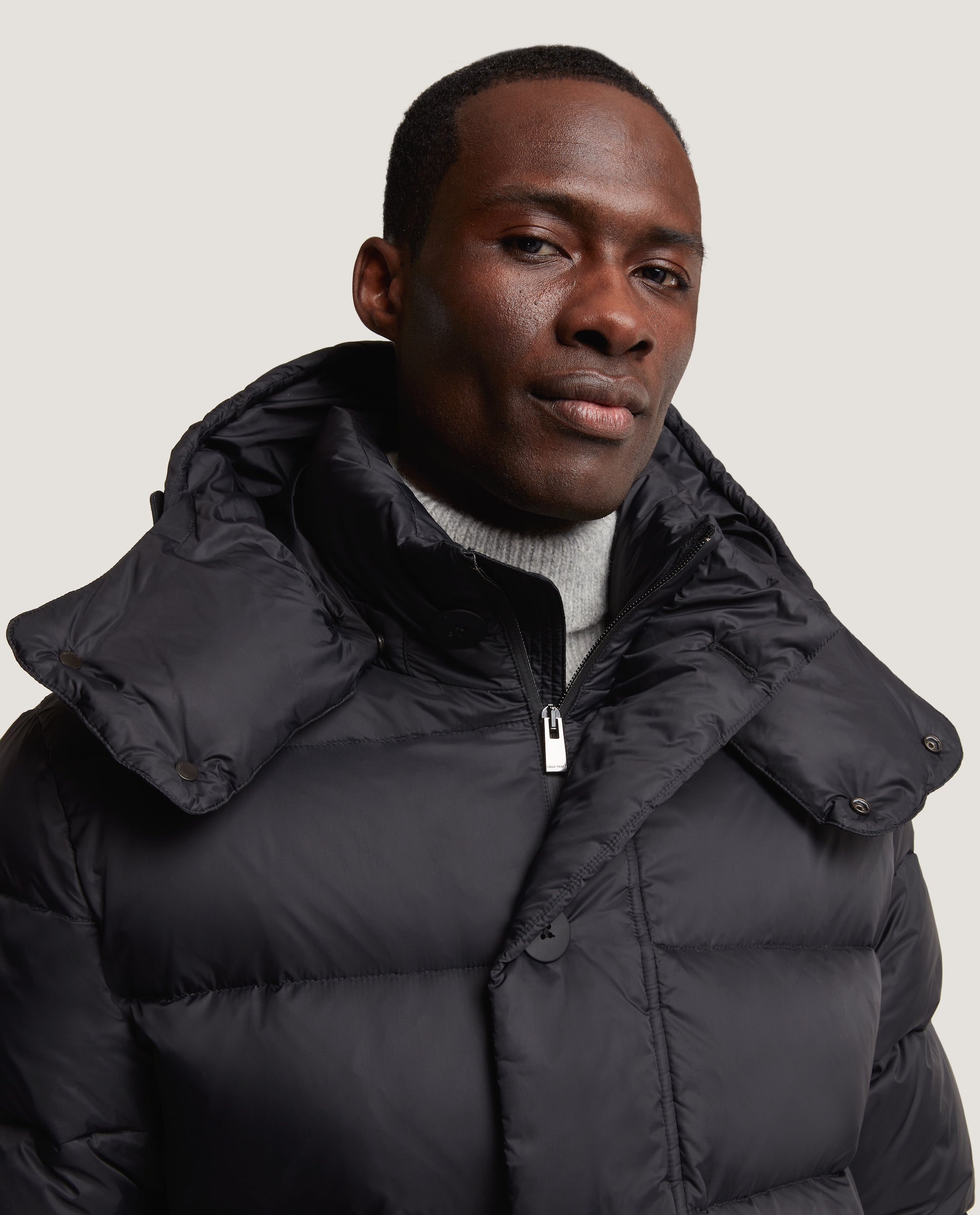 LARSE Hooded Down Parka | Quilted Shell | Black