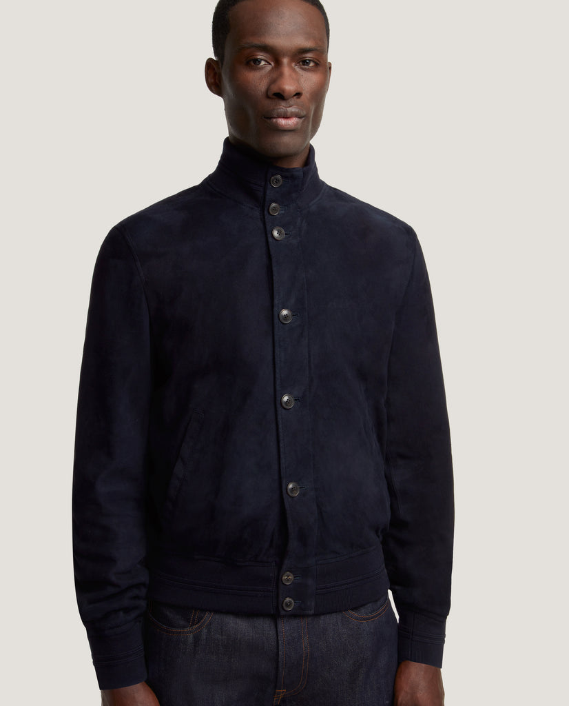 EERO Lamb suede jacket | Night Blue by Salle Privée