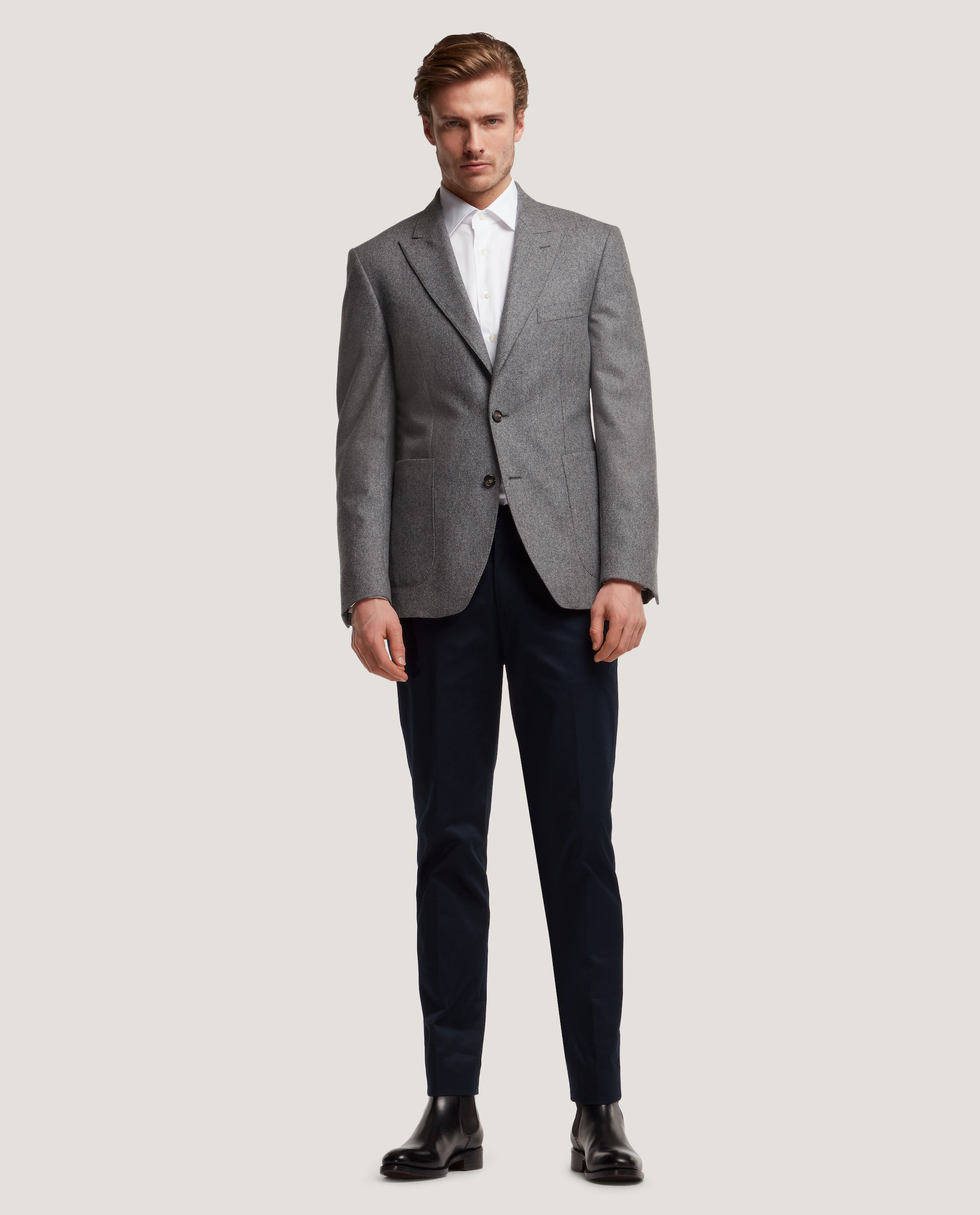 LLOYD Fully lined suit blazer | Wool flannel | Antracite