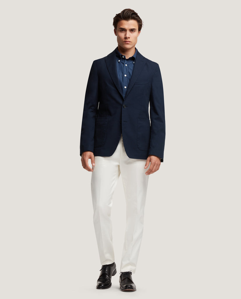 ROSS Unstructured blazer | Premium cotton | Night Blue by Salle Privée