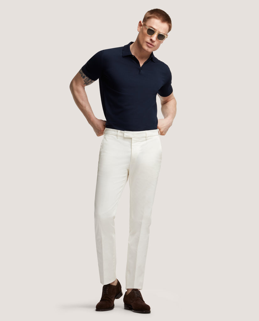 GEHRY Chino trousers | Slim fit | Cotton twill | Ivory by Salle Privée