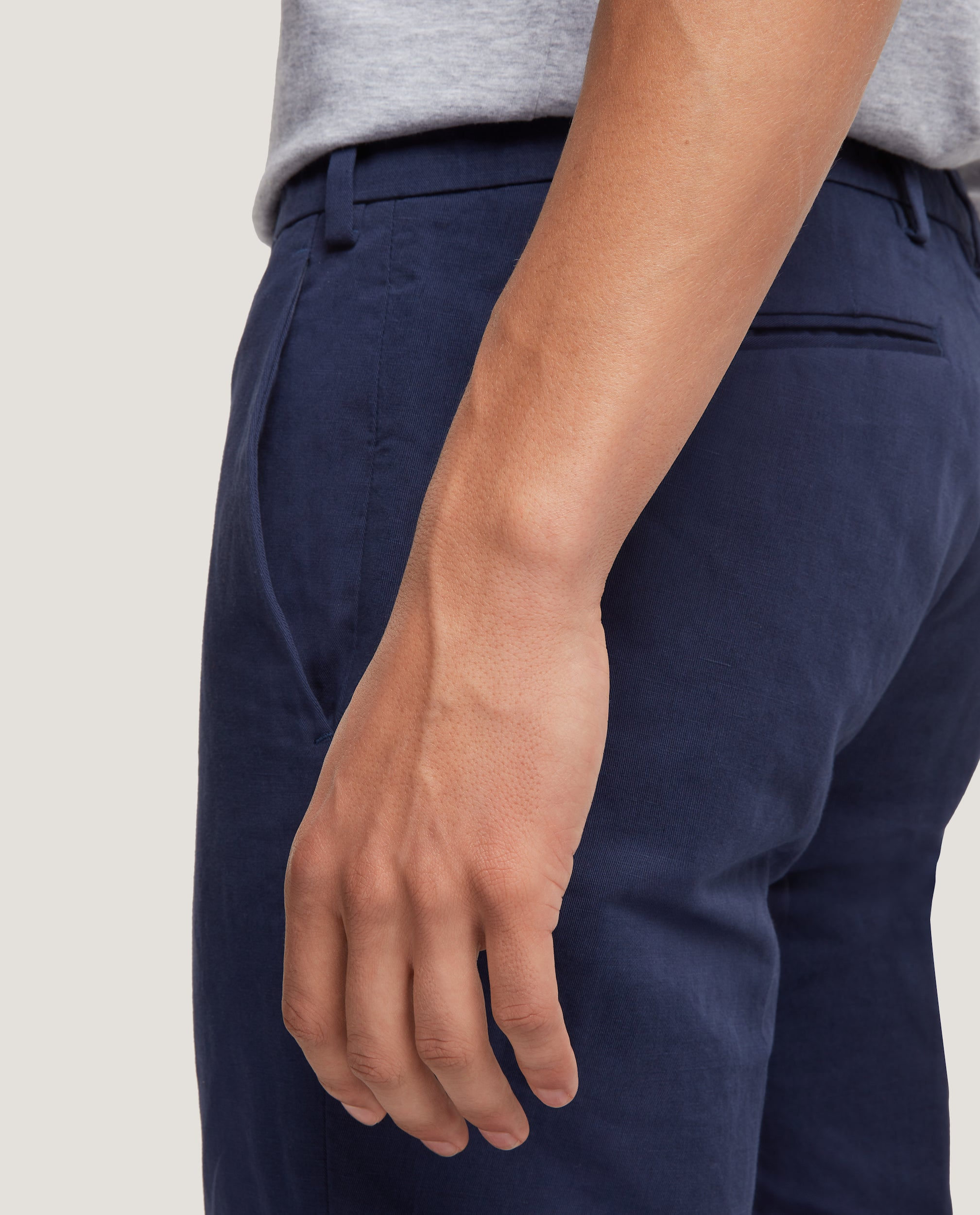 GEHRY Chino trousers | Slim fit | Cotton linen | Blue