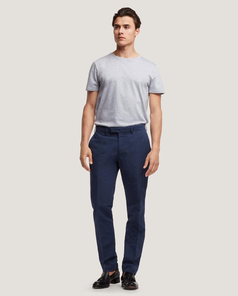 GEHRY Chino trousers | Slim fit | Cotton linen | Blue by Salle Privée