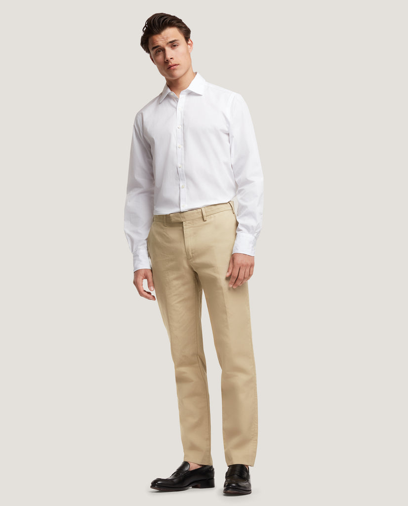GEHRY Chino trousers | Slim fit | Cotton linen | Beige by Salle Privée