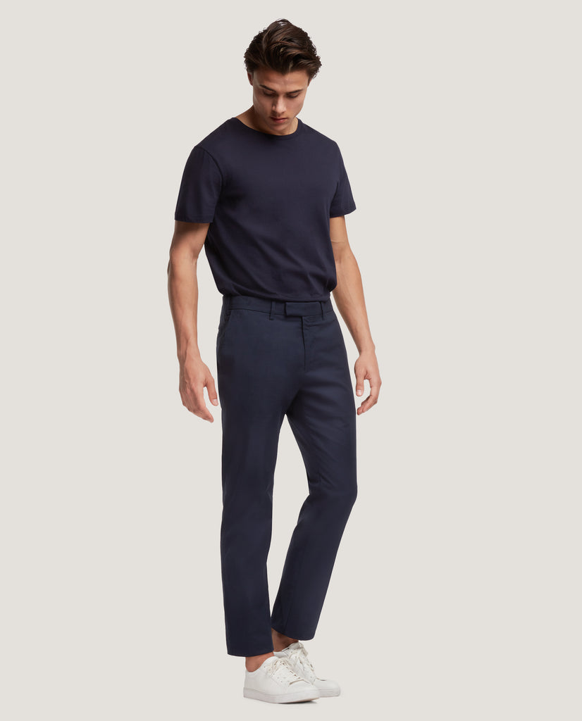 GEHRY Chino trousers | Slim fit | Cotton linen | Night Blue by Salle Privée