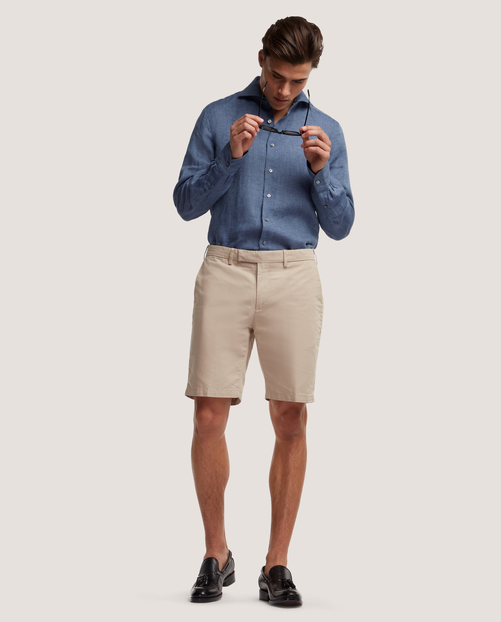 STEVEN Chino Shorts | Medium length | Cotton-linen blend | Sand