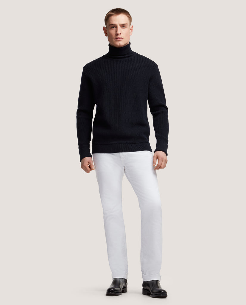 ART Virgin wool rollneck sweater | Night Blue by Salle Privée