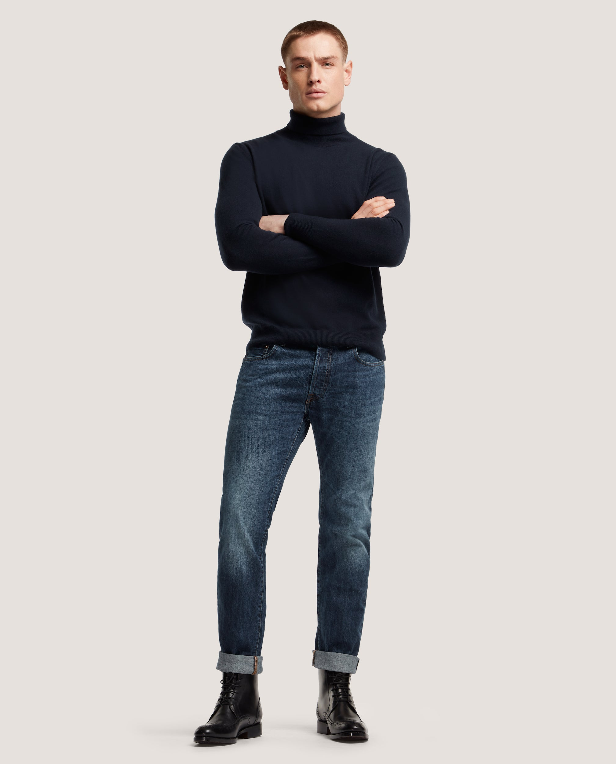 ARVID Rollneck sweater | 100% Cashmere | Night Blue