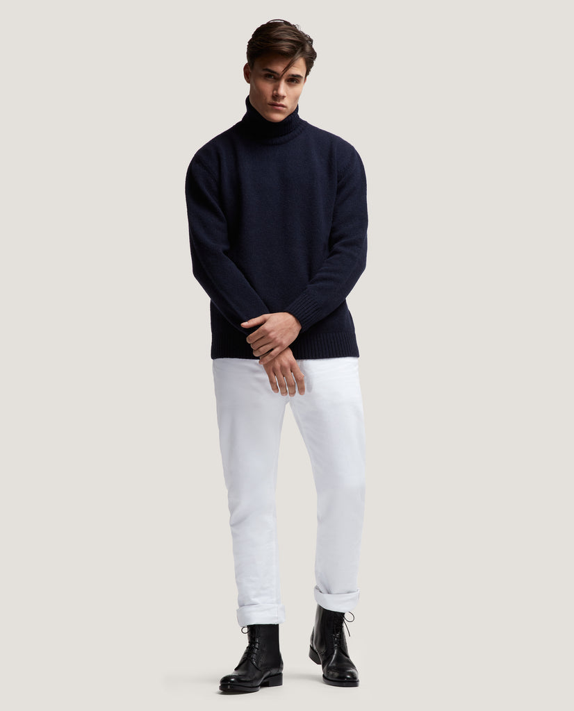 EINAR Wool rollneck sweater | Night Blue by Salle Privée