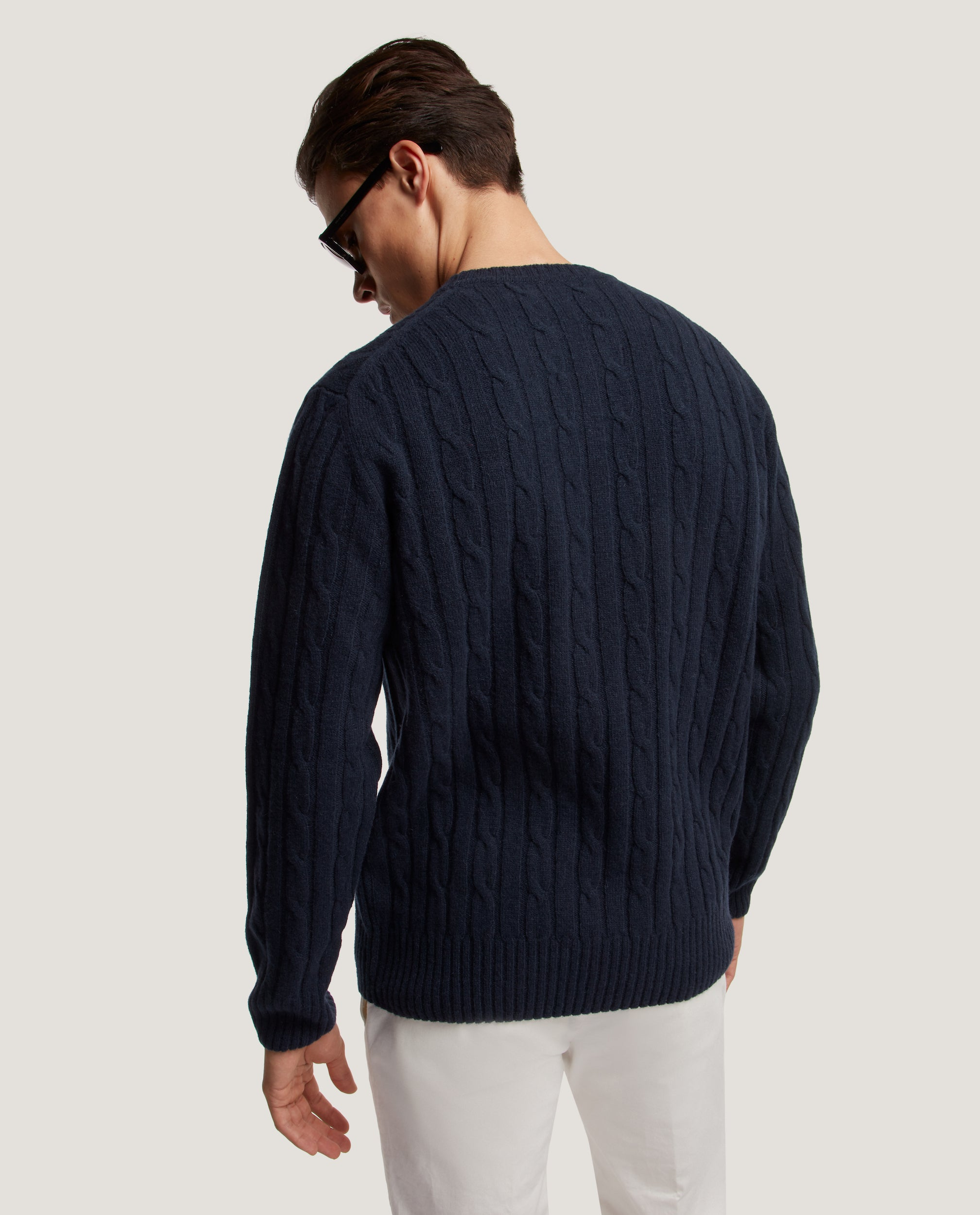 REM Wool cable sweater | Night Blue
