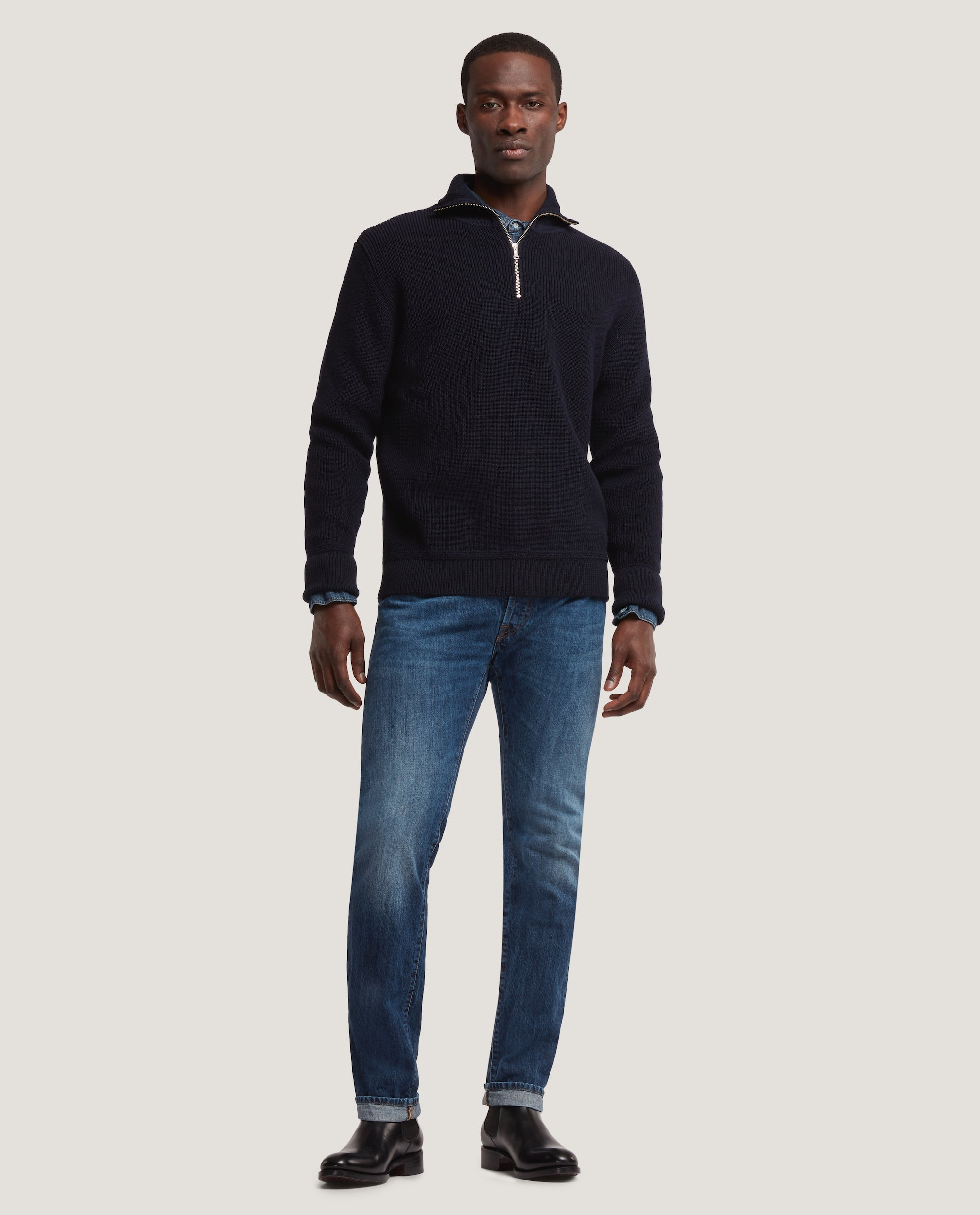 RIKARD Virgin wool half zip sweater | Night Blue