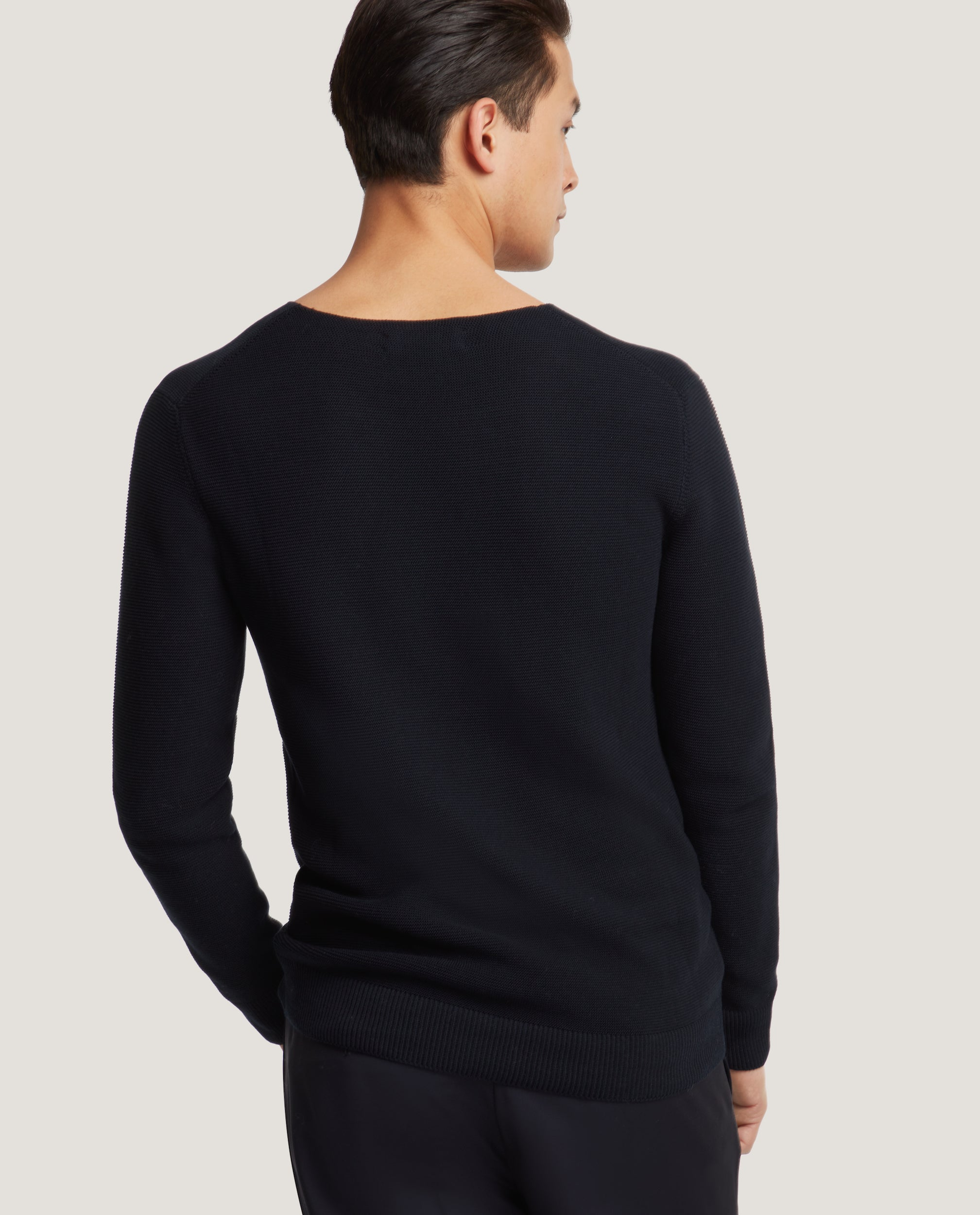 BENOIT Cotton knit sweater | Night Blue