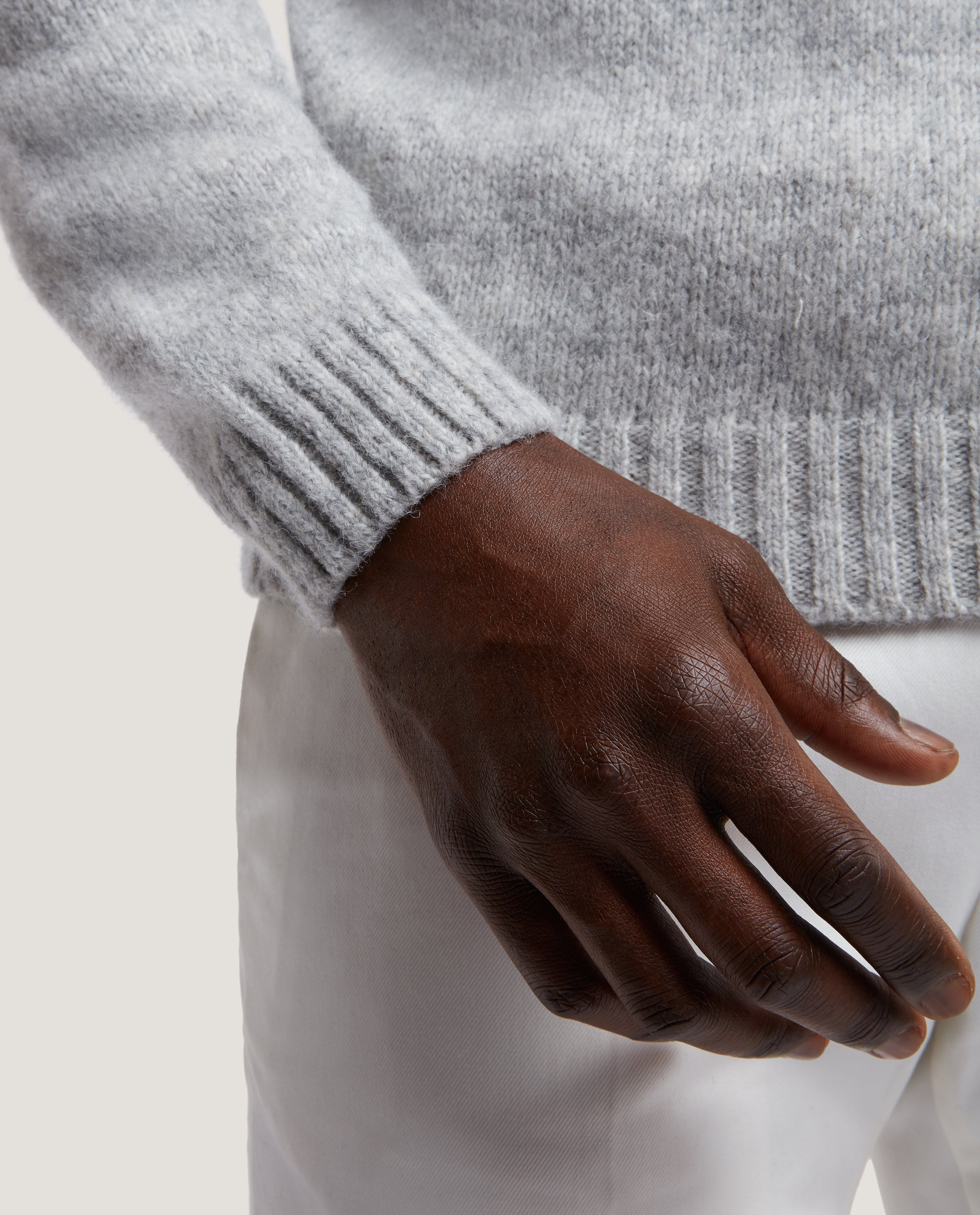 JAKOB Alpaca blend sweater | Light Grey Melange