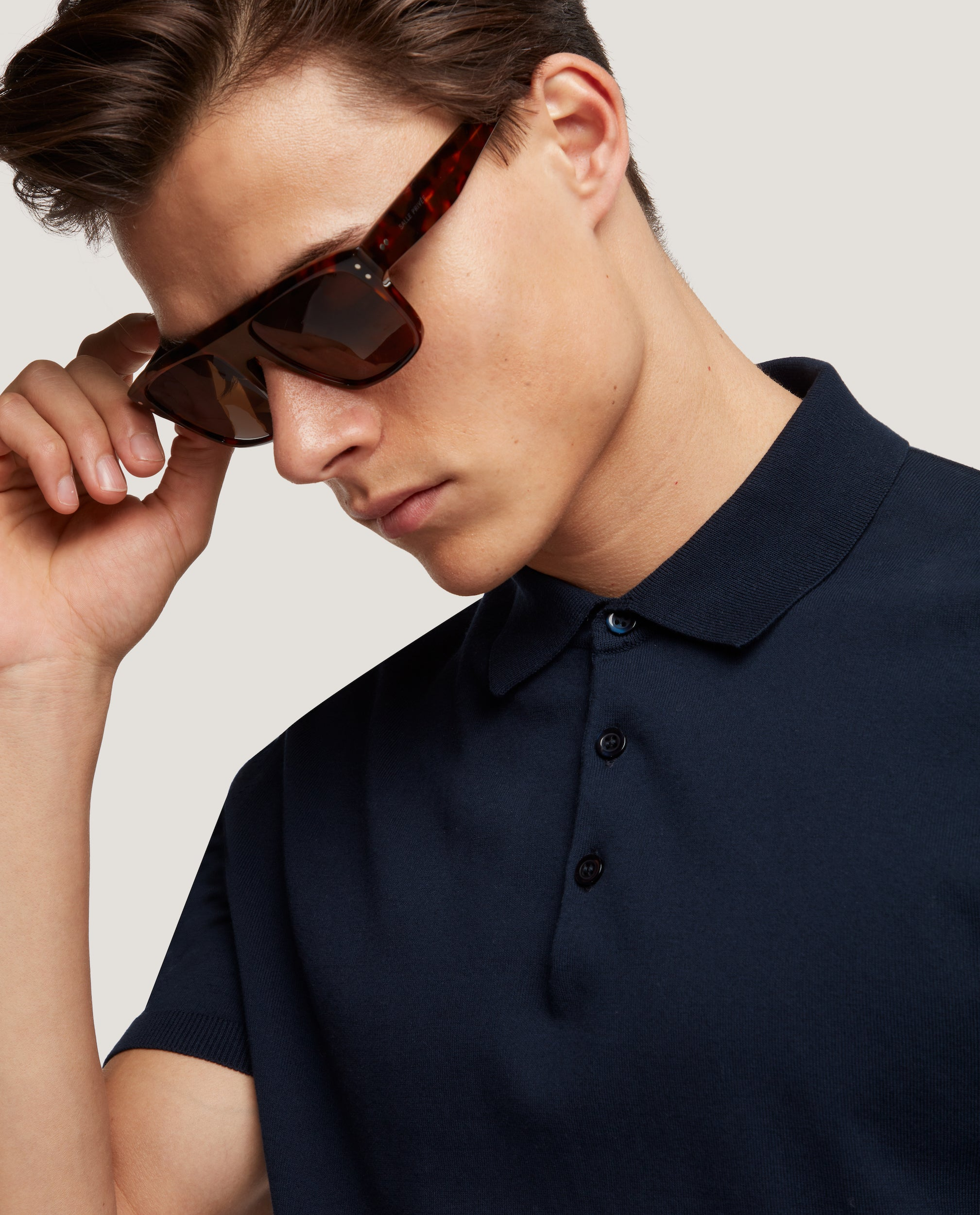 ELIEL Cotton knit polo | Night Blue
