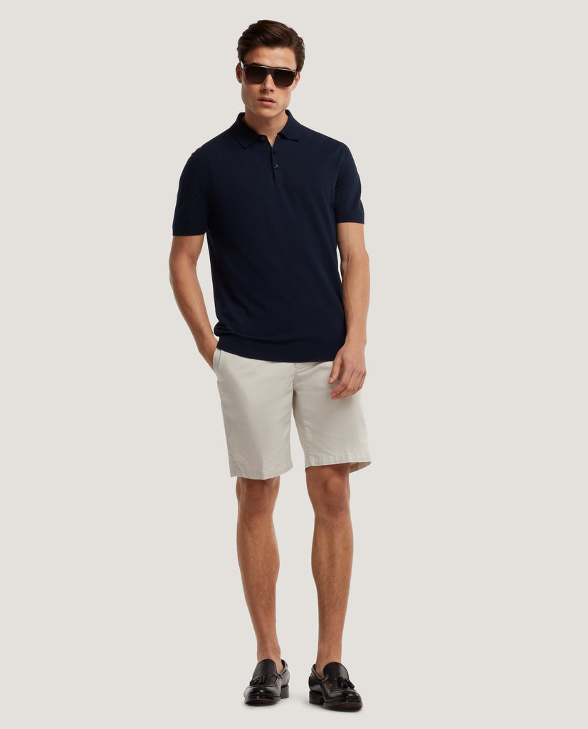 ELIEL Cotton knit polo | Night Blue by Salle Privée