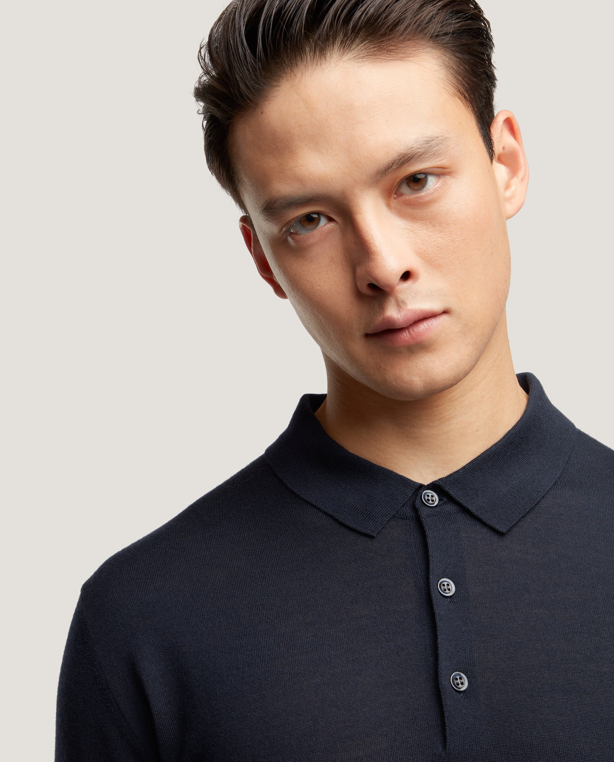 ISAAC Merino polo | Night Blue