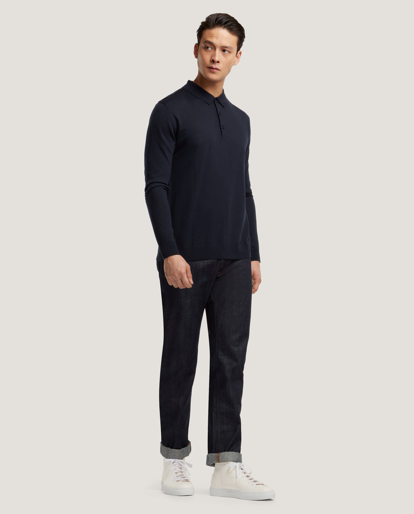 ISAAC Merino polo | Night Blue by Salle Privée