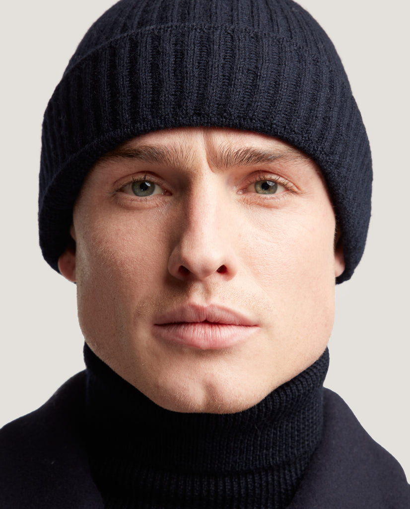 INIGO Ribbed wool beanie | Night Blue by Salle Privée