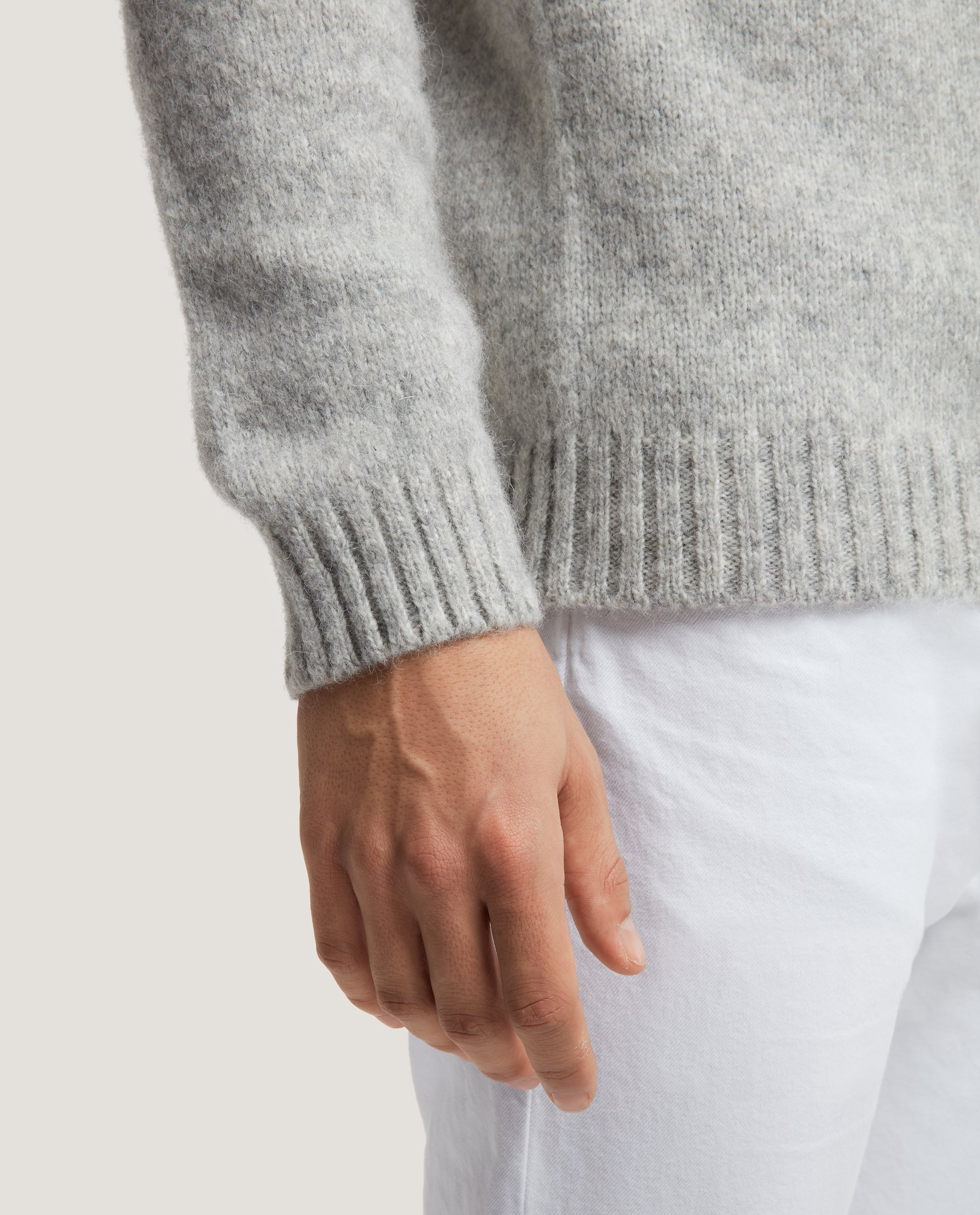 LEO Alpaca Blend Rollneck Sweater | Light Grey Melange