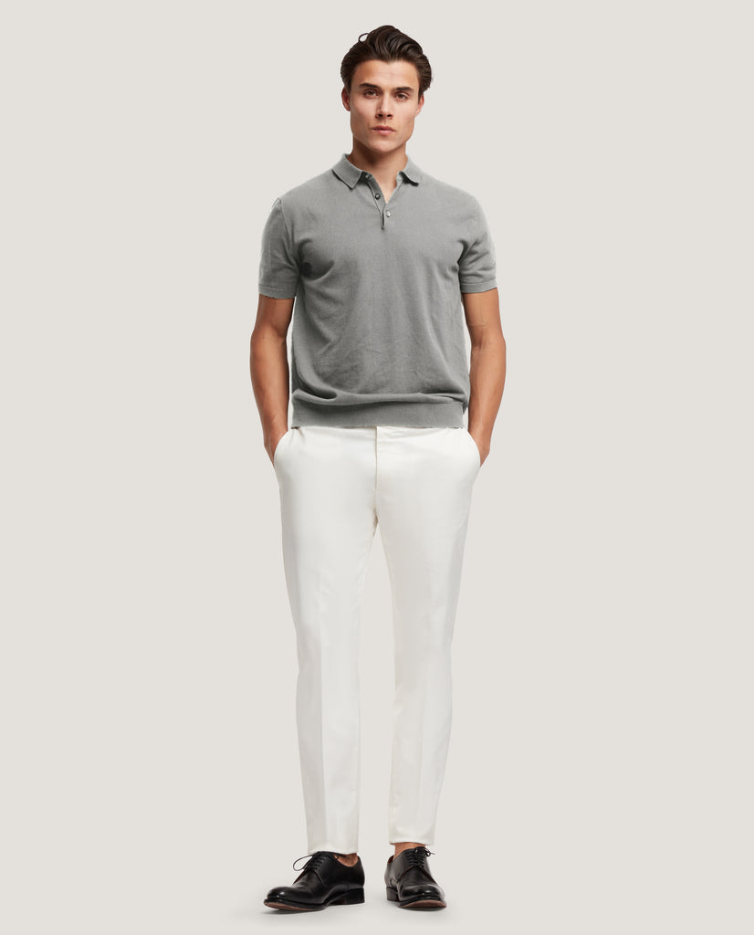 ELIEL Cotton knit polo | Mid Grey by Salle Privée