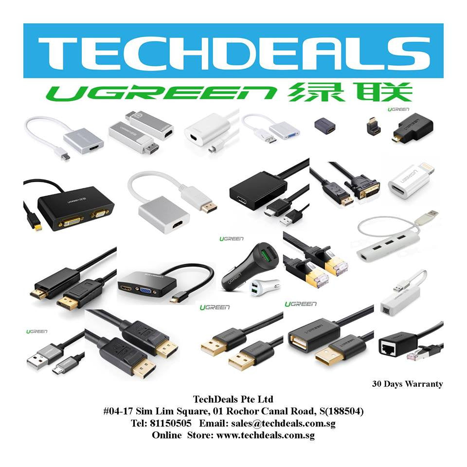 UGreen USB 3.0 4 Ports Hub-- compact Cassette design with power adaptor