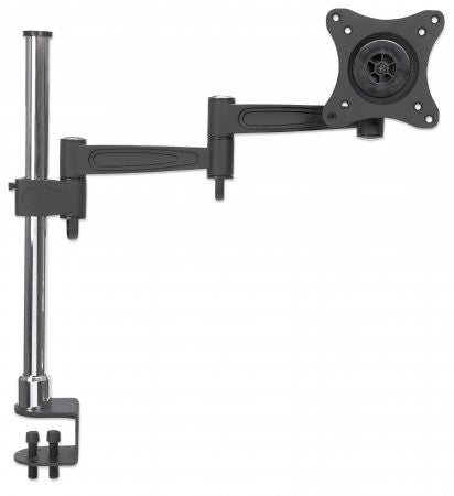 Manhattan LCD Monitor Pole, Supports one monitor, double-link swing arm
