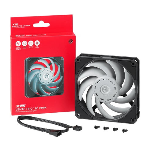 XPG Vento Pro 120 PWM 2150rpm Gentle Typhoon High Static Pressure Non LED Fan - Black