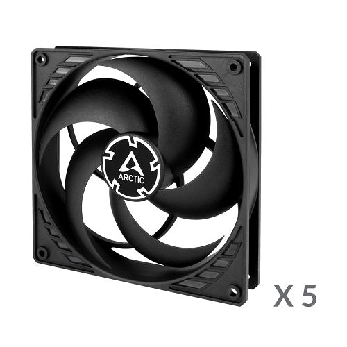P14 4-Pin Pressure-Optimised 14 cm Casing Fan with PWM PST - Black w/Black Frame - 5 in 1 Pack
