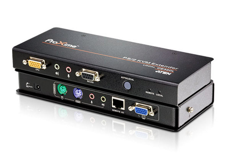Aten CE350 PS/2 KVM Extender. Audio enabled. RS232 enabled. VGA gain control. 1920 x 1200 @ 60Hz (30 m);1600x1200@60Hz (150m)