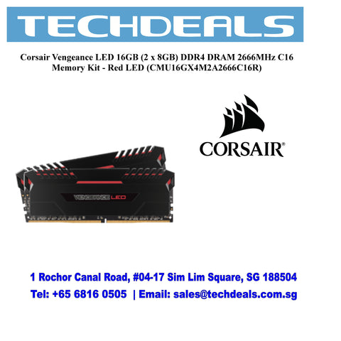 Corsair Vengeance LED 16GB (2 x 8GB) DDR4 DRAM 2666MHz C16 Memory Kit - Red LED (CMU16GX4M2A2666C16R)