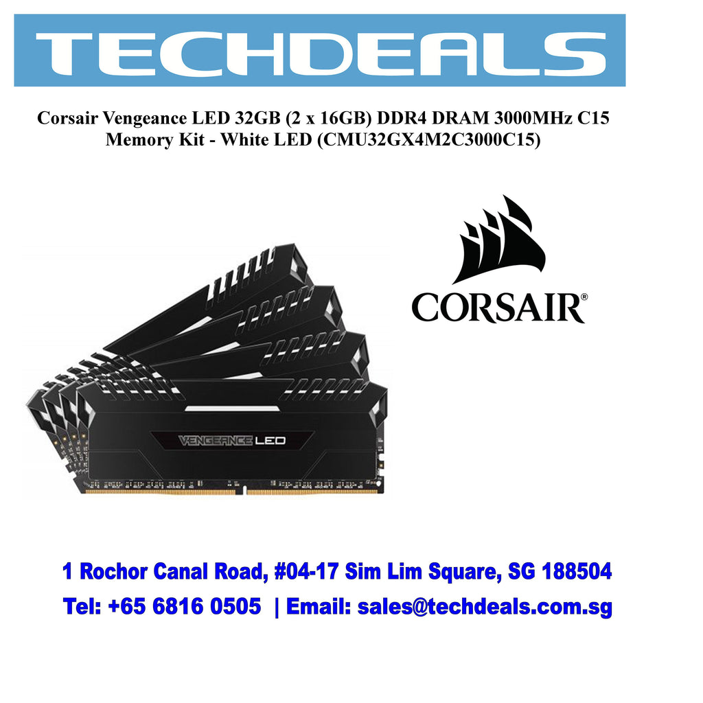 Corsair Vengeance LED 32GB (2 x 16GB) DDR4 DRAM 3000MHz C15 Memory Kit - White LED (CMU32GX4M2C3000C15)