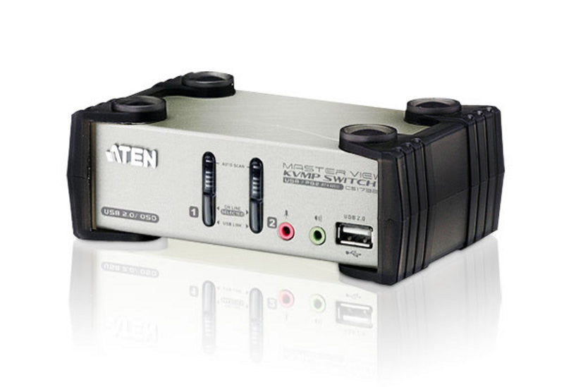 Aten CS1732B 2-port USB KVMP. USB2.0 hub, 2x1.2m USB KVM cable. Audio enabled. OSD. (Hot key & push button)