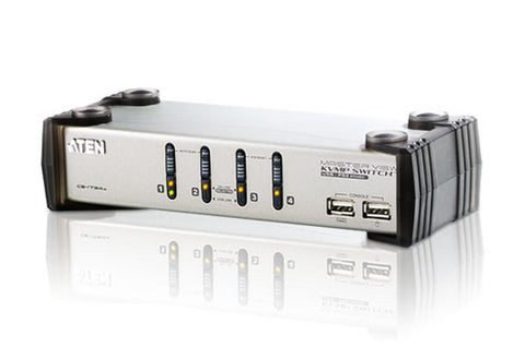 Aten CS1734A 4-port USB KVMP. USB1.0  hub, 2x1.2m and 2x1.8m USB KVM cable. Audio enabled. (Hot key & push button)
