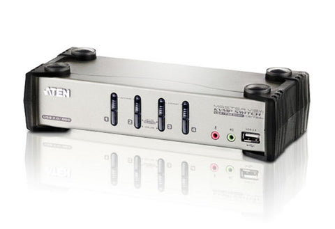 Aten CS1734B 4-port USB KVMP. USB2.0 hub, 2x1.2m and 2x1.8m USB KVM cable. Audio enabled. OSD. (Hot key & push button)
