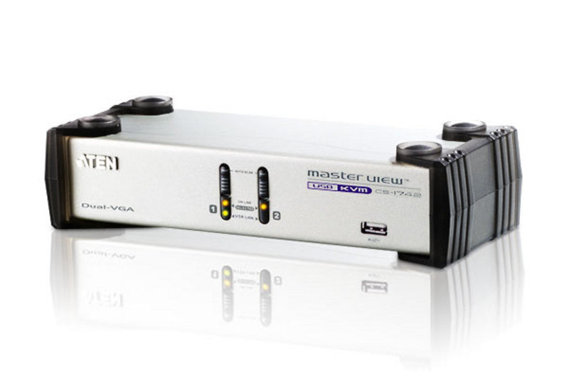 Aten CS1742 2-port USB Dual-View KVMP, 2x1.2m USB KVM cable. Audio enabled. USB hub. (Hot key & push button)