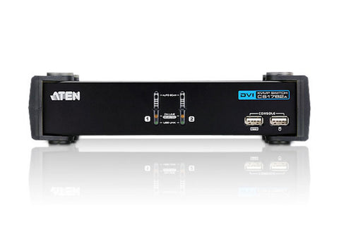 Aten CS1762A 2-Port USB 2.0 DVI-I(single link) Res. 1920x1200  KVMP, USB2.0 hub, 2x1.2m USB KVM cable. Audio enabled. (Sturdy type)